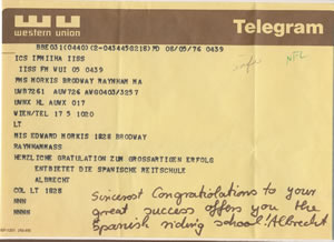 Telegram from the Spanish Riding School congratulating Dotti Morkis for her Olympinc success